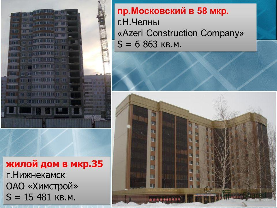 пр.Московский в 58 мкр. г.Н.Челны «Azeri Construction Company» S = 6 863 кв.м. пр.Московский в 58 мкр. г.Н.Челны «Azeri Construction Company» S = 6 863 кв.м. жилой дом в мкр.35 г.Нижнекамск ОАО «Химстрой» S = 15 481 кв.м. жилой дом в мкр.35 г.Нижнека