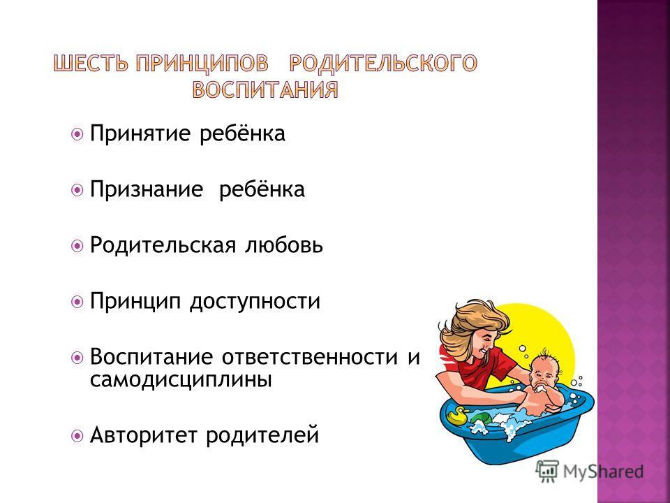 Принятие ребёнка Признание ребёнка Родительская любовь Принцип доступности Воспитание ответственности и самодисциплины Авторитет родителей