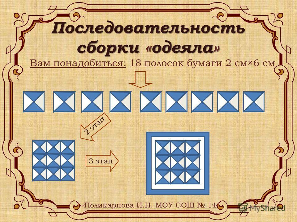 Последовательность сборки «одеяла» Вам понадобиться: 18 полосок бумаги 2 см×6 см 2 этап 3 этап Поликарпова И.Н. МОУ СОШ 11