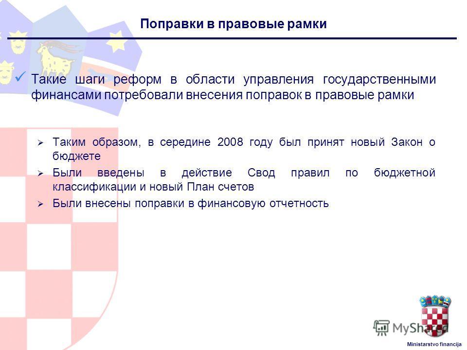 Ministarstvo financija Такие шаги реформ в области управления государственными финансами потребовали внесения поправок в правовые рамки Таким образом, в середине 2008 году был принят новый Закон о бюджете Были введены в действие Свод правил по бюджет