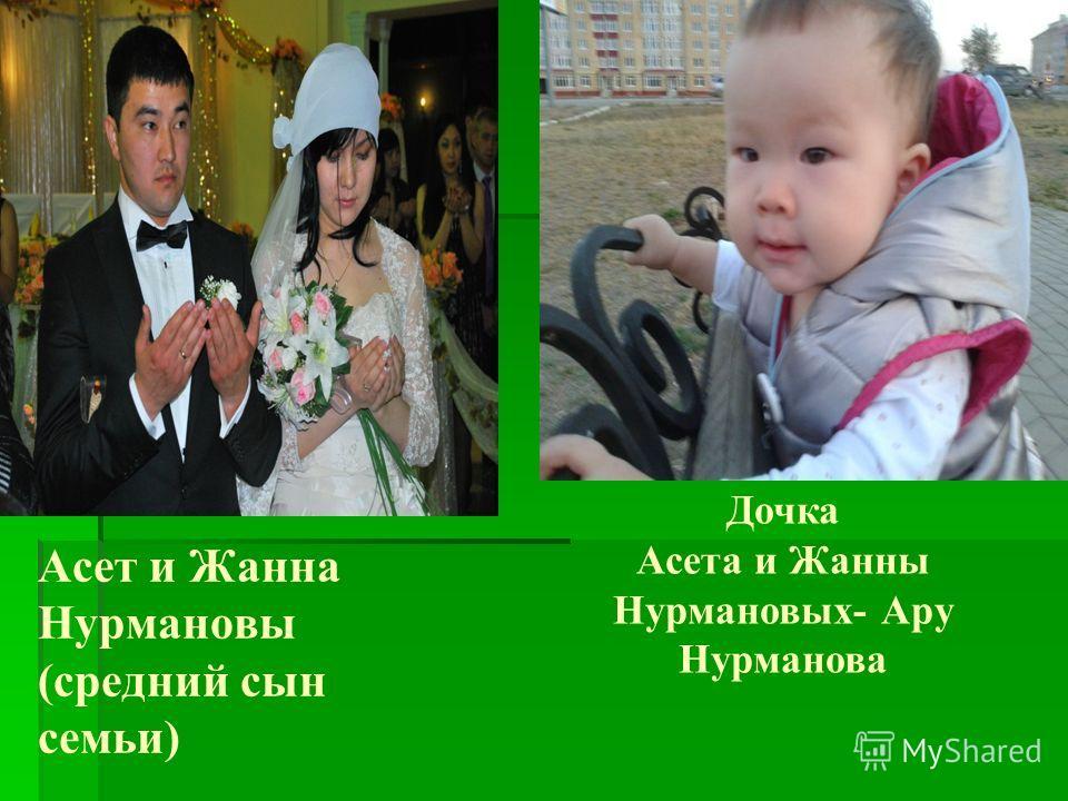 Асет и Жанна Нурмановы (средний сын семьи) Дочка Асета и Жанны Нурмановых- Ару Нурманова