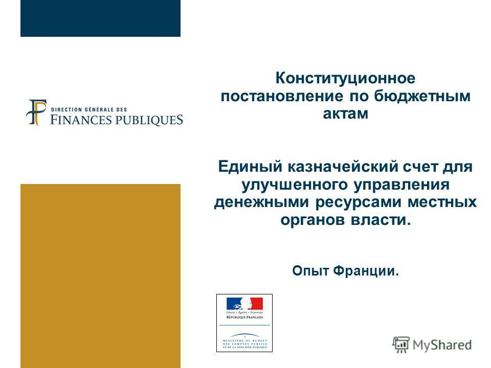 Конституционное постановление по бюджетным актам Единый казначейский счет для улучшенного управления денежными ресурсами местных органов власти. Опыт Франции.