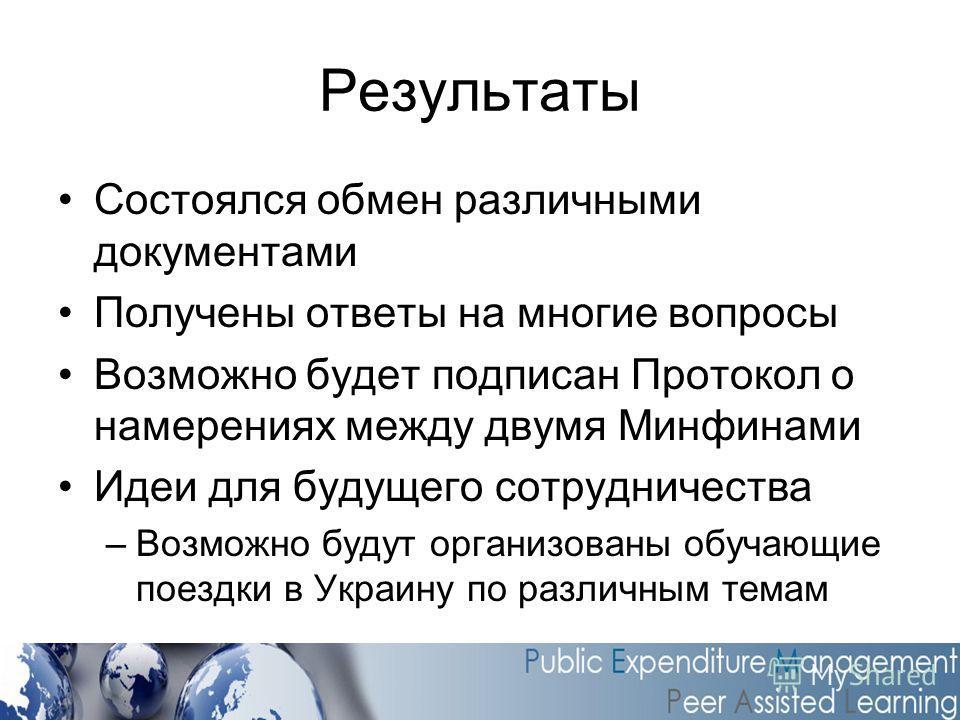 Результаты Состоялся обмен различными документами Получены ответы на многие вопросы Возможно будет подписан Протокол о намерениях между двумя Минфинами Идеи для будущего сотрудничества –Возможно будут организованы обучающие поездки в Украину по разли