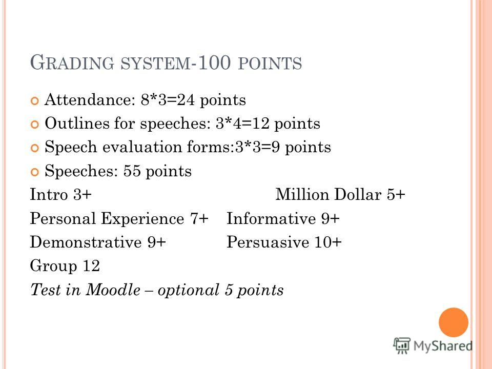 G RADING SYSTEM -100 POINTS Attendance: 8*3=24 points Outlines for speeches: 3*4=12 points Speech evaluation forms:3*3=9 points Speeches: 55 points Intro 3+Million Dollar 5+ Personal Experience 7+Informative 9+ Demonstrative 9+Persuasive 10+ Group 12