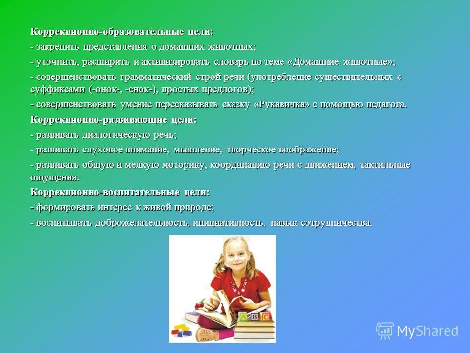Коррекционно-образовательные цели: - закрепить представления о домашних животных; - уточнить, расширить и активизировать словарь по теме «Домашние животные»; - совершенствовать грамматический строй речи (употребление существительных с суффиксами (-он