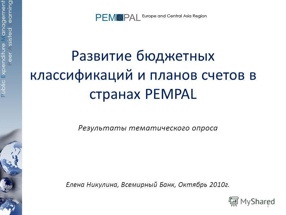 Развитие бюджетных классификаций и планов счетов в странах PEMPAL Результаты тематического опроса Елена Никулина, Всемирный Банк, Октябрь 2010г. 1