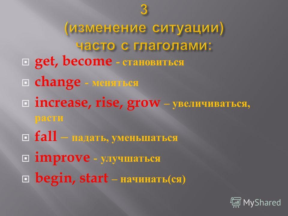get, become - становиться change - меняться increase, rise, grow – увеличиваться, расти fall – падать, уменьшаться improve - улучшаться begin, start – начинать ( ся )
