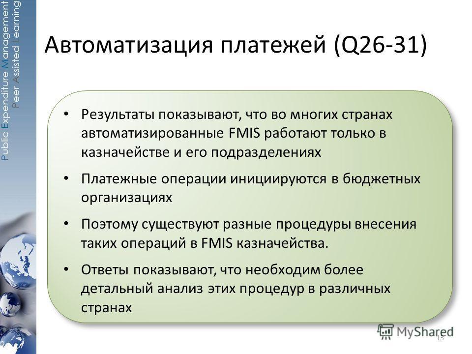 Автоматизация платежей (Q26-31) 13 Результаты показывают, что во многих странах автоматизированные FMIS работают только в казначействе и его подразделениях Платежные операции инициируются в бюджетных организациях Поэтому существуют разные процедуры в
