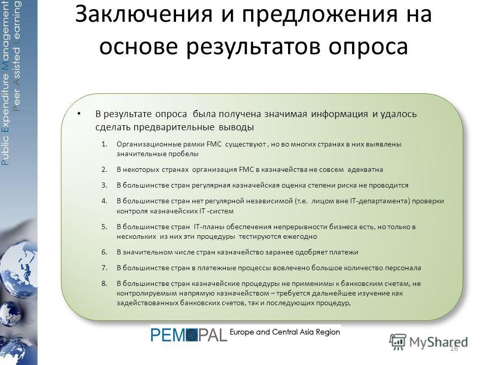 В результате опроса была получена значимая информация и удалось сделать предварительные выводы 1.Организационные рамки FMC существуют, но во многих странах в них выявлены значительные пробелы 2.В некоторых странах организация FMC в казначейства не со