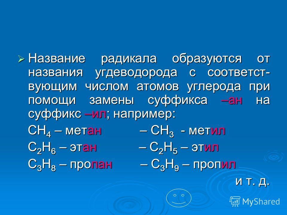 Название радикала образуются от названия угдеводорода с соответст- вующим числом атомов углерода при помощи замены суффикса –ан на суффикс –ил; например: Название радикала образуются от названия угдеводорода с соответст- вующим числом атомов углерода