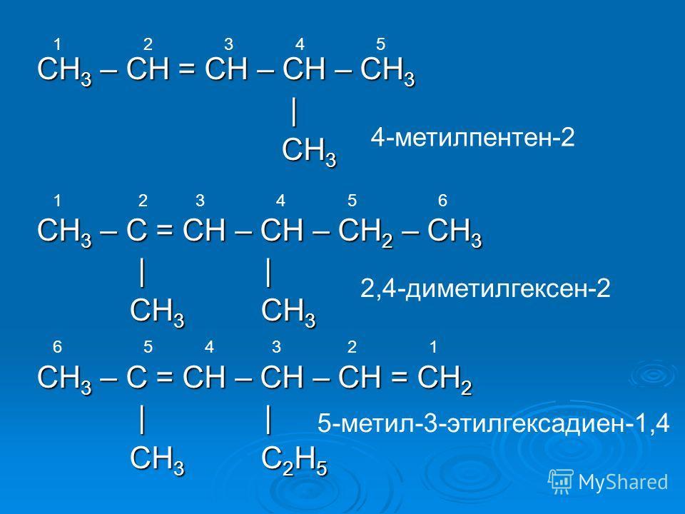 СH 3 – CH = CH – CH – CH 3 | CH 3 CH 3 СH 3 – C = CH – CH – CH 2 – СН 3 | | | | CH 3 CH 3 CH 3 CH 3 СH 3 – C = CH – CН – CH = СН 2 | | | | CH 3 C 2 H 5 CH 3 C 2 H 5 4-метилпентен-2 2,4-диметилгексен-2 5-метил-3-этилгексадиен-1,4 1 2 3 4 5 1 2 3 4 5 6