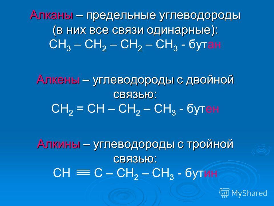 Алканы – предельные углеводороды (в них все связи одинарные): CH 3 – CH 2 – CH 2 – CH 3 - бутан Алкены – углеводороды с двойной связью: CH 2 = CH – CH 2 – CH 3 - бутен Алкины – углеводороды с тройной связью: CH C – CH 2 – CH 3 - бутин