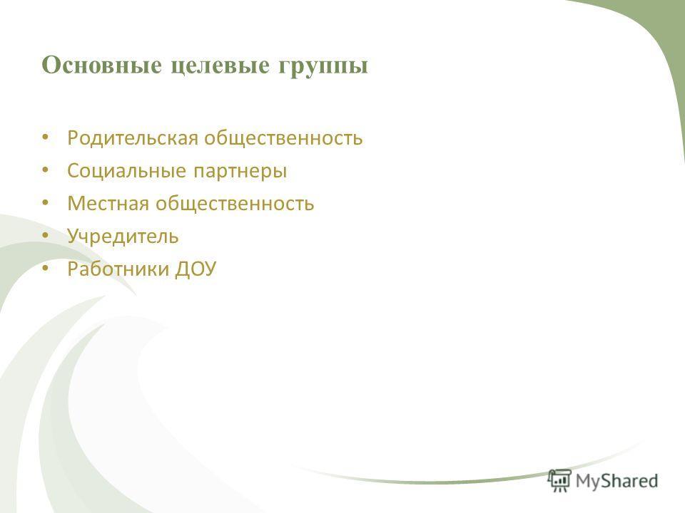 Основные целевые группы Родительская общественность Социальные партнеры Местная общественность Учредитель Работники ДОУ