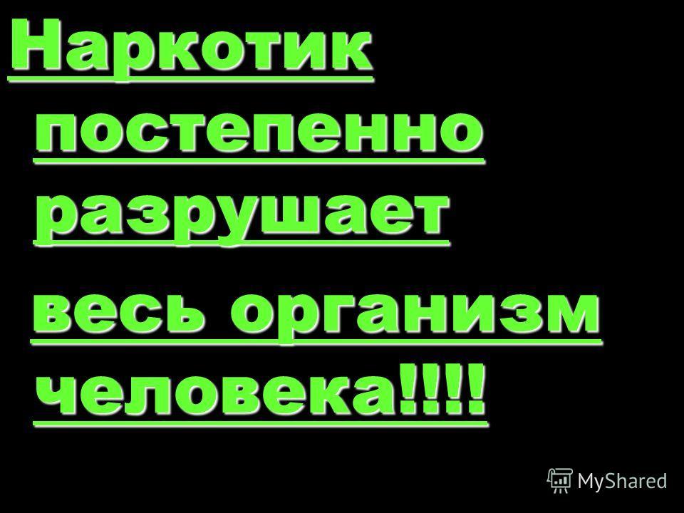 Наркотик постепенно разрушает весь организм человека!!!!