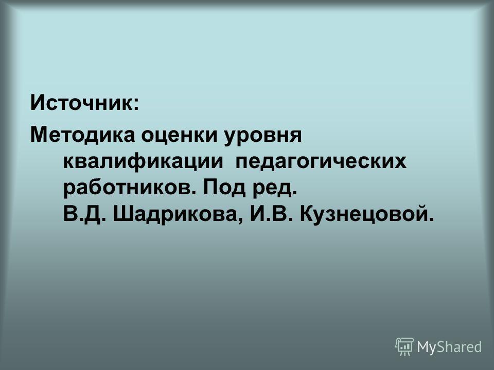 Источник: Методика оценки уровня квалификации педагогических работников. Под ред. В.Д. Шадрикова, И.В. Кузнецовой.