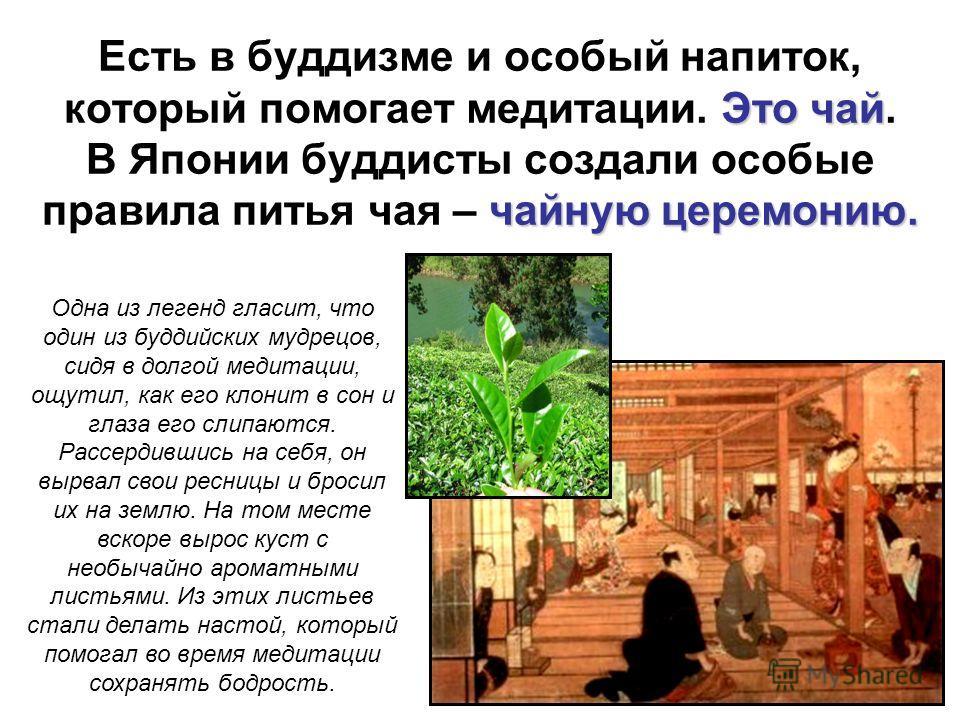 Это чай чайную церемонию. Есть в буддизме и особый напиток, который помогает медитации. Это чай. В Японии буддисты создали особые правила питья чая – чайную церемонию. Одна из легенд гласит, что один из буддийских мудрецов, сидя в долгой медитации, о