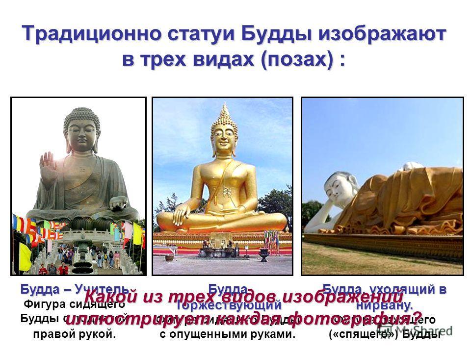 Традиционно статуи Будды изображают в трех видах (позах) : Будда – Учитель Фигура сидящего Будды с поднятой правой рукой. Будда Торжествующий Фигура сидящего Будды с опущенными руками. Будда, уходящий в нирвану. Фигура лежащего («спящего») Будды Како