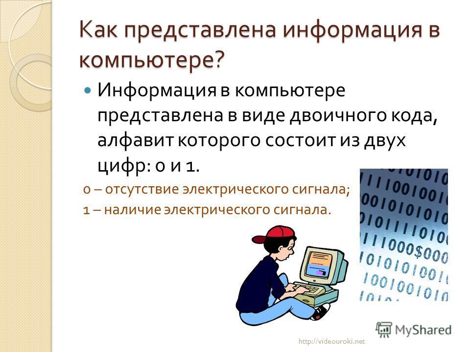 Как представлена информация в компьютере ? Информация в компьютере представлена в виде двоичного кода, алфавит которого состоит из двух цифр : 0 и 1. 0 – отсутствие электрического сигнала ; 1 – наличие электрического сигнала. http://videouroki.net