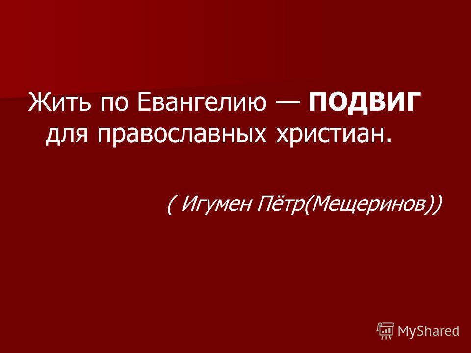 Жить по Евангелию ПОДВИГ для православных христиан. ( Игумен Пётр(Мещеринов))