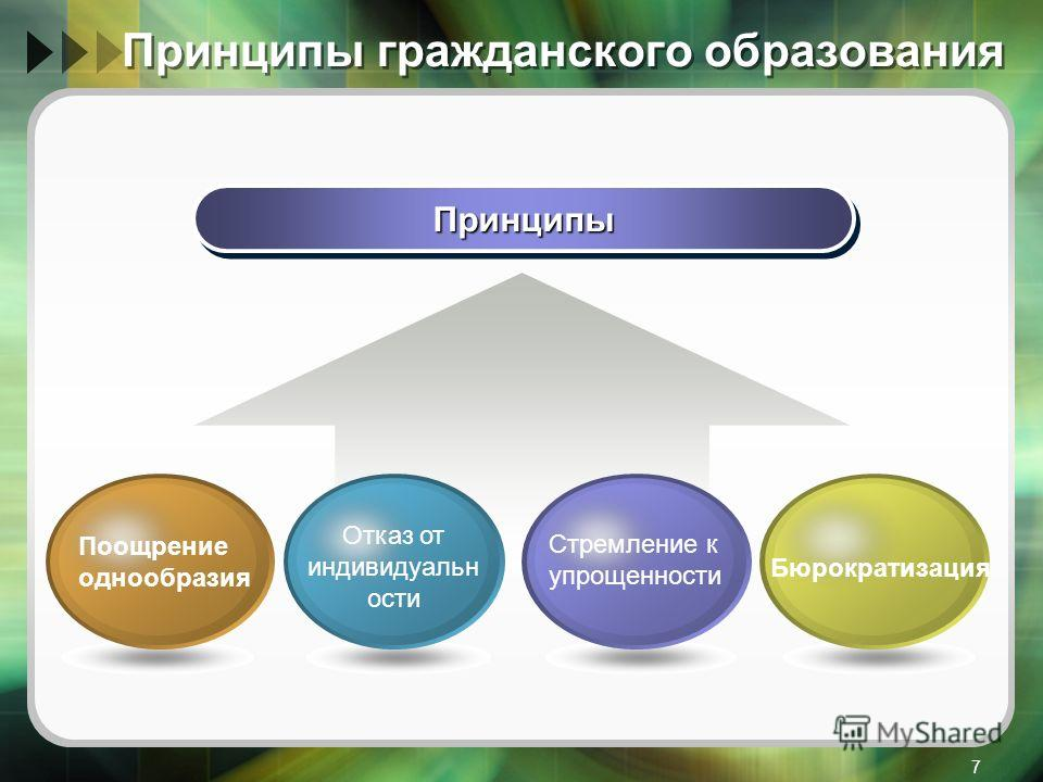 7 Принципы гражданского образования ПринципыПринципы Отказ от индивидуальн ости Стремление к упрощенности Бюрократизация Поощрение однообразия