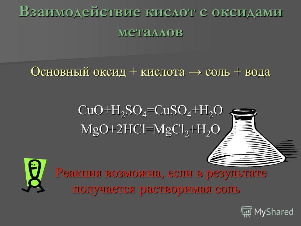 Взаимодействие кислот с оксидами металлов Основный оксид + кислота соль + вода CuO+H2SO4=CuSO4+H2O MgO+2HCl=MgCl2+H2O Реакция возможна, если в результате получается растворимая соль