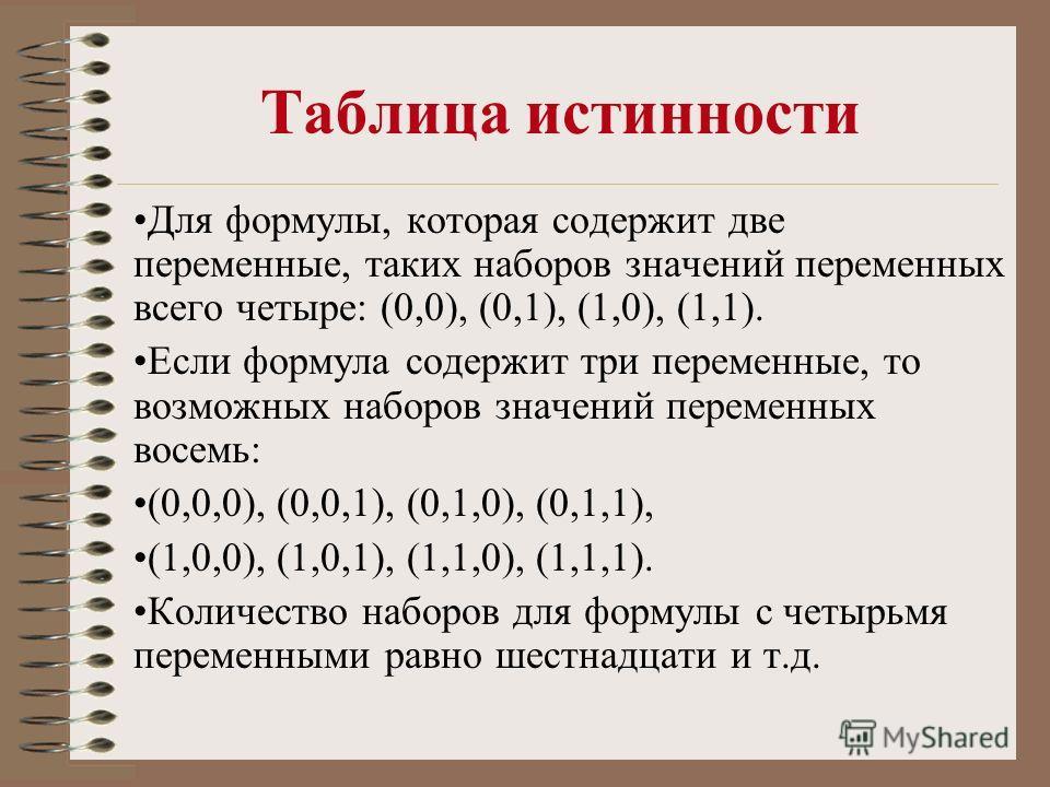 Таблица истинности Для формулы, которая содержит две переменные, таких наборов значений переменных всего четыре: (0,0), (0,1), (1,0), (1,1). Если формула содержит три переменные, то возможных наборов значений переменных восемь: (0,0,0), (0,0,1), (0,1