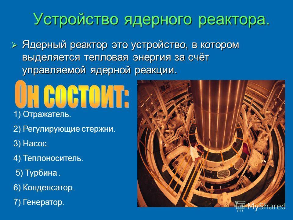 Устройство ядерного реактора. Ядерный реактор это устройство, в котором выделяется тепловая энергия за счёт управляемой ядерной реакции. 1) Отражатель. 2) Регулирующие стержни. 3) Насос. 4) Теплоноситель. 5) Турбина. 6) Конденсатор. 7) Генератор.
