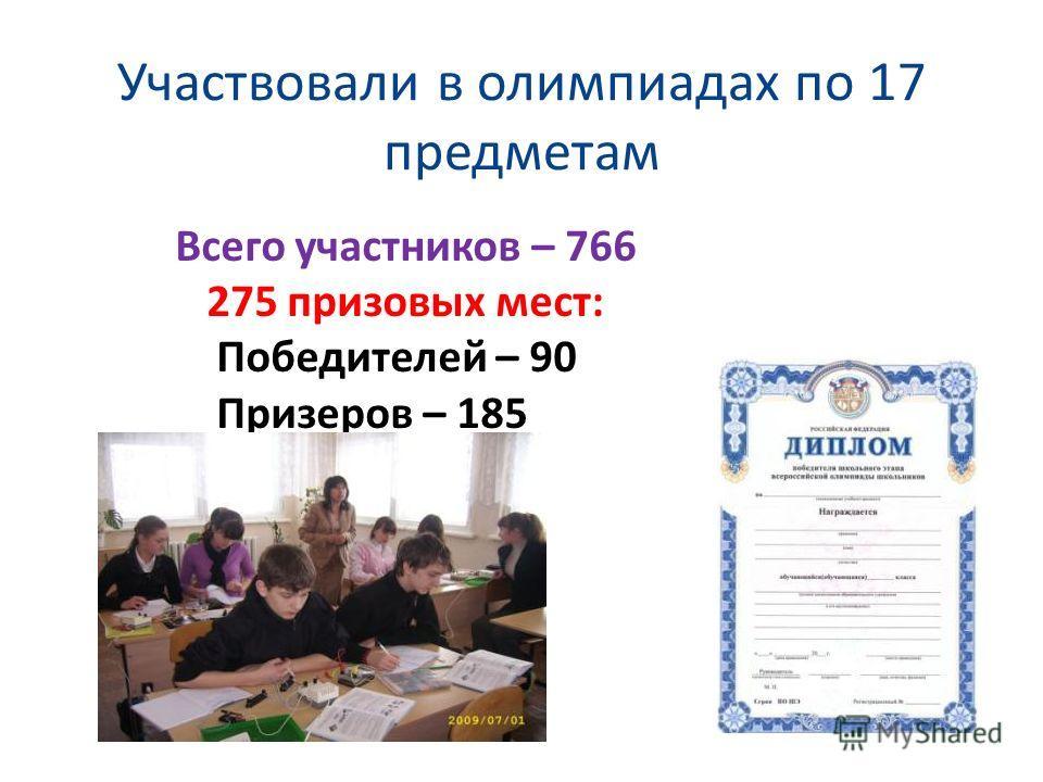 Участвовали в олимпиадах по 17 предметам Всего участников – 766 275 призовых мест: Победителей – 90 Призеров – 185