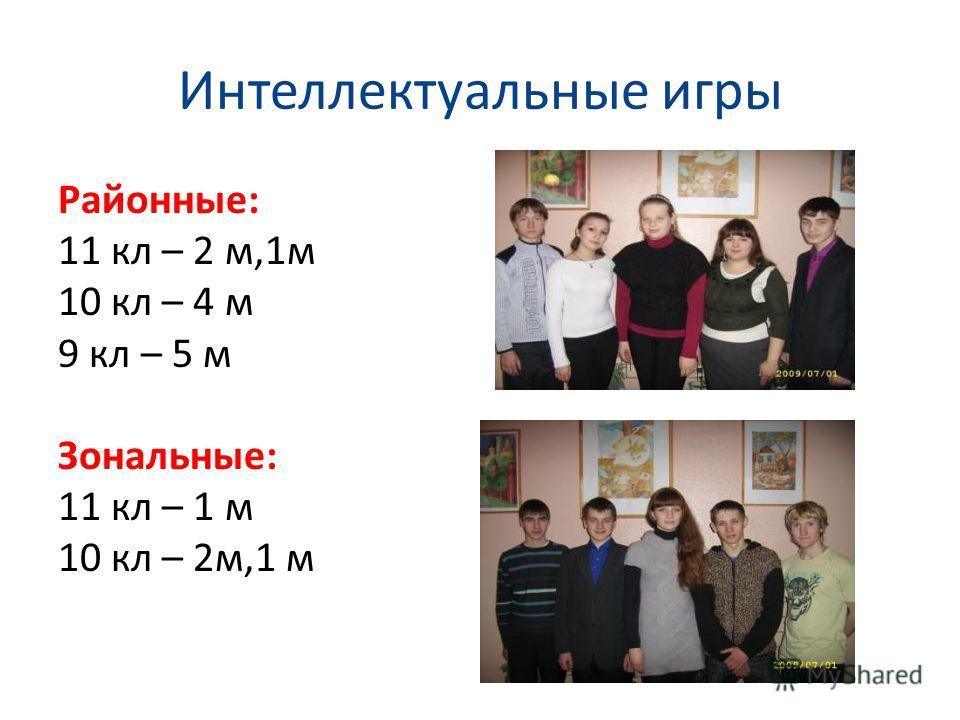 Интеллектуальные игры Районные: 11 кл – 2 м,1м 10 кл – 4 м 9 кл – 5 м Зональные: 11 кл – 1 м 10 кл – 2м,1 м