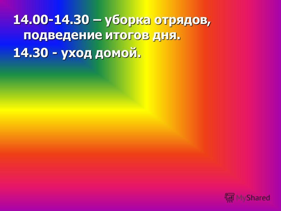 14.00-14.30 – уборка отрядов, подведение итогов дня. 14.30 - уход домой.