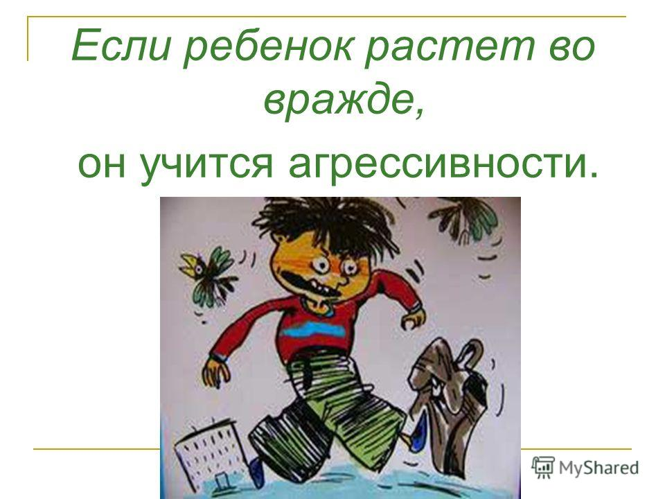 Если ребенок растет во вражде, он учится агрессивности.