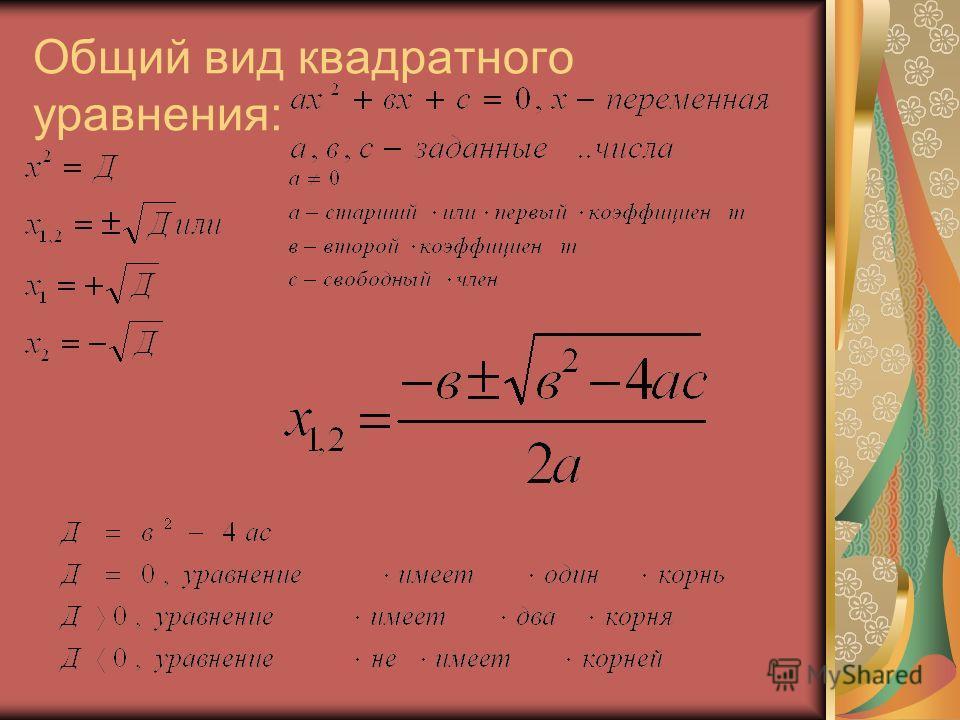 Общий вид квадратного уравнения: