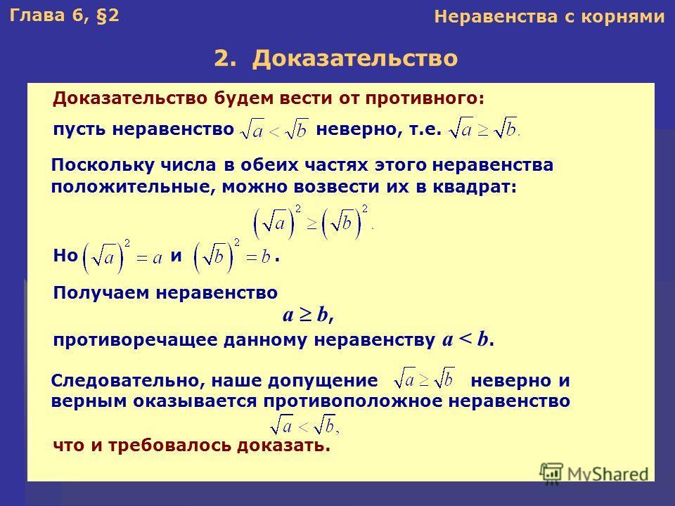 Глава 6, §2 2. Доказательство Неравенства с корнями Поскольку числа в обеих частях этого неравенства положительные, можно возвести их в квадрат: Доказательство будем вести от противного: пусть неравенство неверно, т.е. Получаем неравенство a b, проти