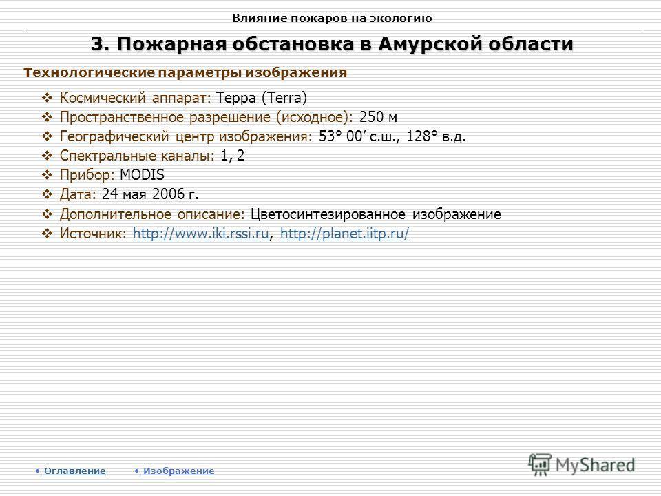 Влияние пожаров на экологию 3. Пожарная обстановка в Амурской области Космический аппарат: Терра (Terra) Пространственное разрешение (исходное): 250 м Географический центр изображения: 53° 00 c.ш., 128° в.д. Спектральные каналы: 1, 2 Прибор: MODIS Да
