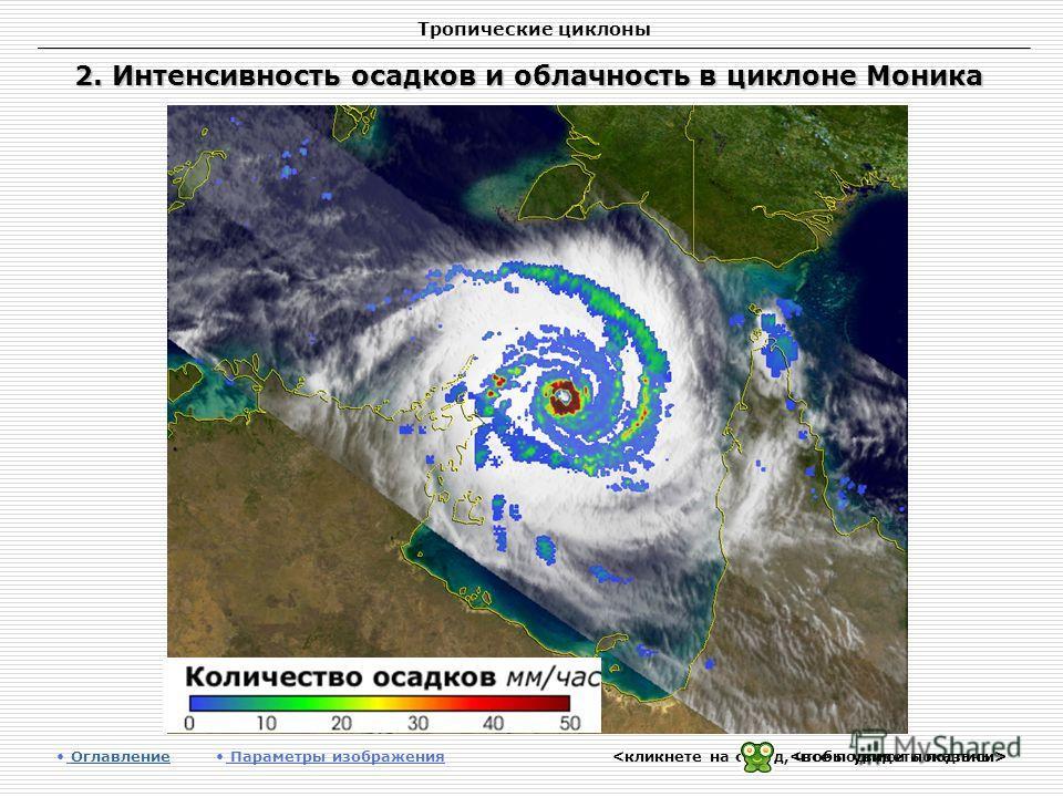 Тропические циклоны 2. Интенсивность осадков и облачность в циклоне Моника Оглавление Оглавление Параметры изображения