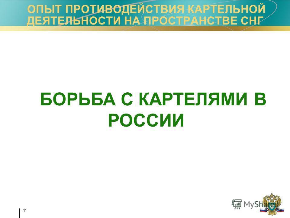 11 ОПЫТ ПРОТИВОДЕЙСТВИЯ КАРТЕЛЬНОЙ ДЕЯТЕЛЬНОСТИ НА ПРОСТРАНСТВЕ СНГ БОРЬБА С КАРТЕЛЯМИ В РОССИИ