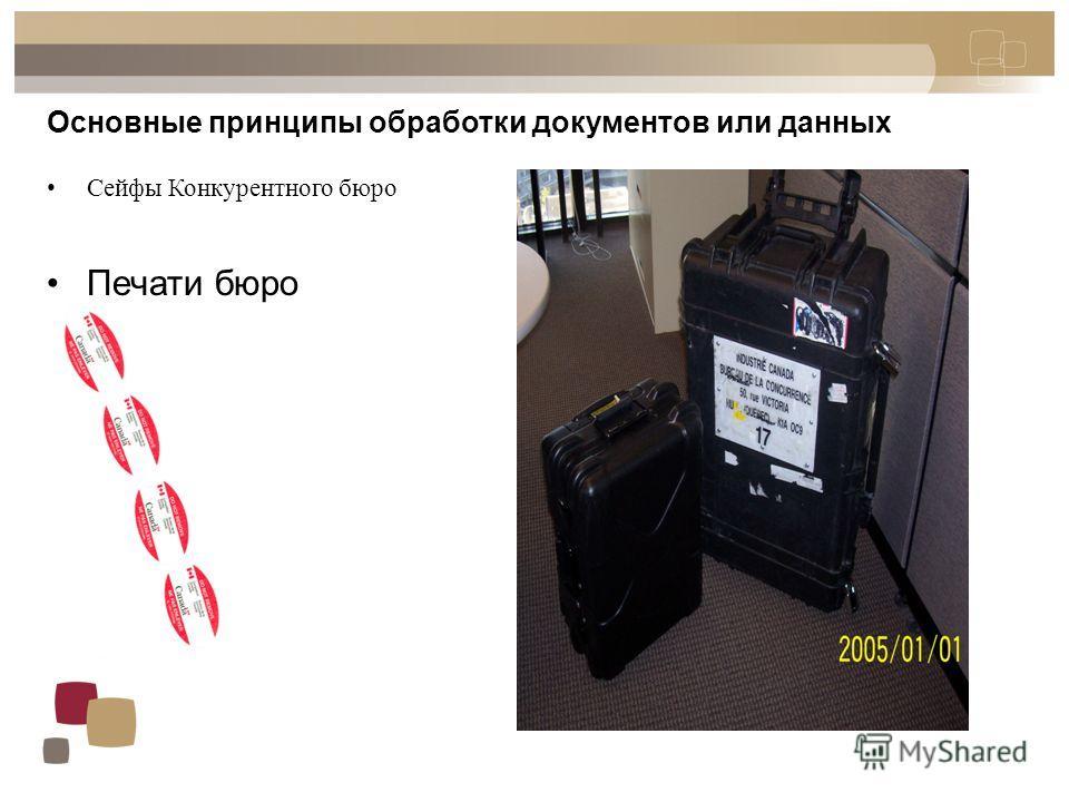 Основные принципы обработки документов или данных Сейфы Конкурентного бюро Печати бюро