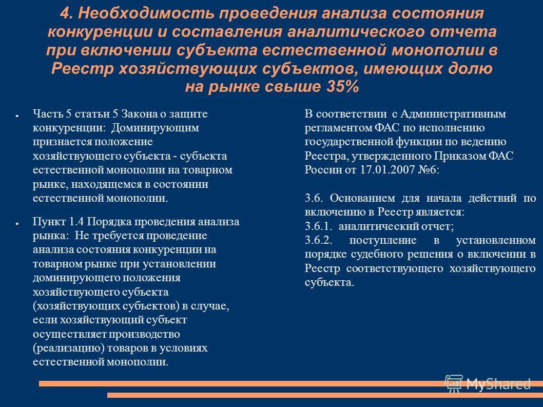 4. Необходимость проведения анализа состояния конкуренции и составления аналитического отчета при включении субъекта естественной монополии в Реестр хозяйствующих субъектов, имеющих долю на рынке свыше 35% Часть 5 статьи 5 Закона о защите конкуренции