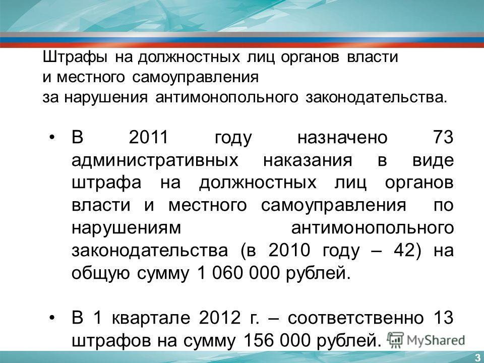 33 В 2011 году назначено 73 административных наказания в виде штрафа на должностных лиц органов власти и местного самоуправления по нарушениям антимонопольного законодательства (в 2010 году – 42) на общую сумму 1 060 000 рублей. В 1 квартале 2012 г.