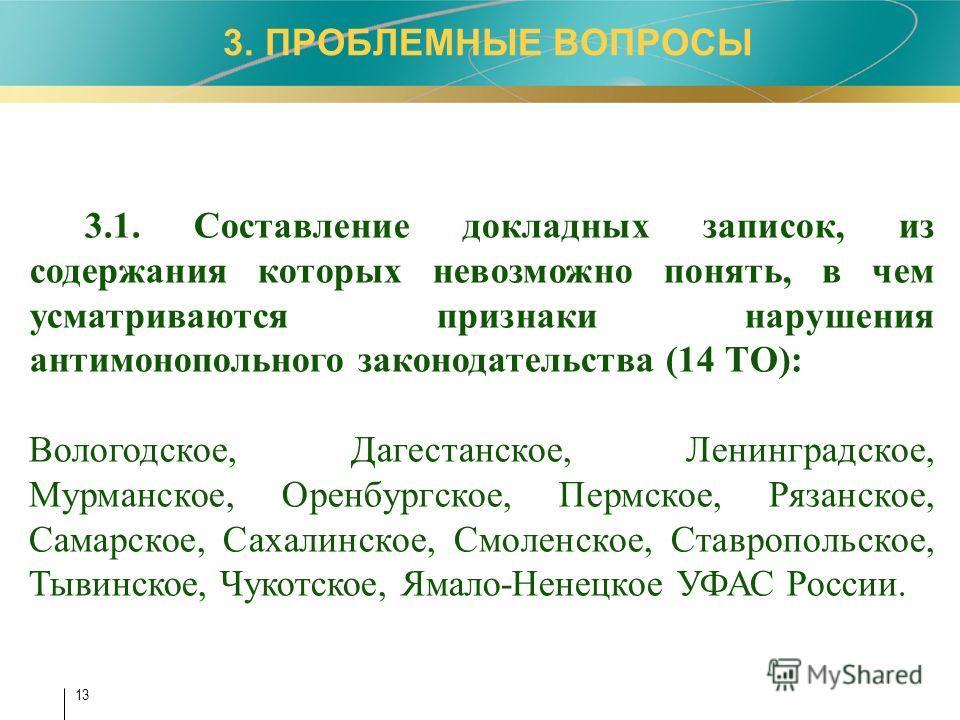 13 3. ПРОБЛЕМНЫЕ ВОПРОСЫ 3.1. Составление докладных записок, из содержания которых невозможно понять, в чем усматриваются признаки нарушения антимонопольного законодательства (14 ТО): Вологодское, Дагестанское, Ленинградское, Мурманское, Оренбургское