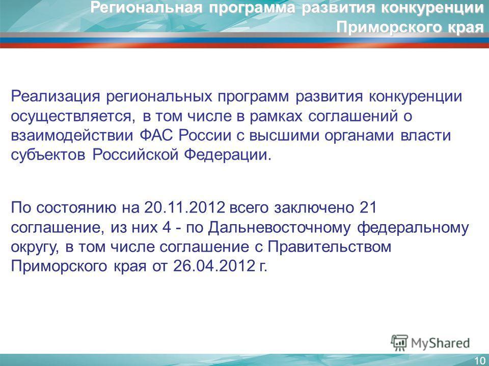 10 Реализация региональных программ развития конкуренции осуществляется, в том числе в рамках соглашений о взаимодействии ФАС России с высшими органами власти субъектов Российской Федерации. По состоянию на 20.11.2012 всего заключено 21 соглашение, и