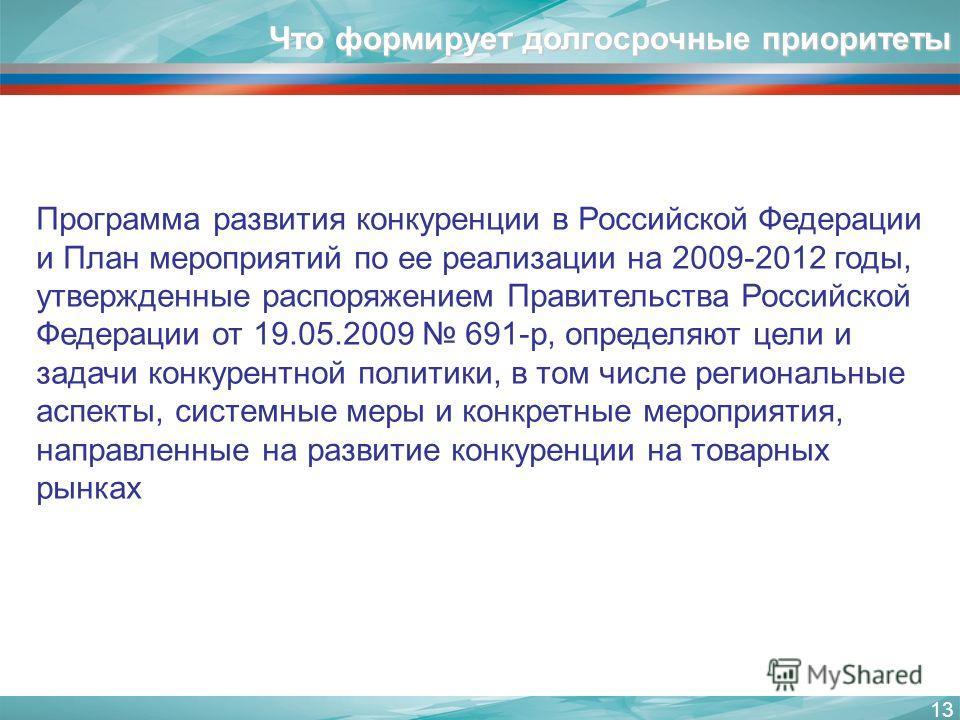 13 Что формирует долгосрочные приоритеты Программа развития конкуренции в Российской Федерации и План мероприятий по ее реализации на 2009-2012 годы, утвержденные распоряжением Правительства Российской Федерации от 19.05.2009 691-р, определяют цели и