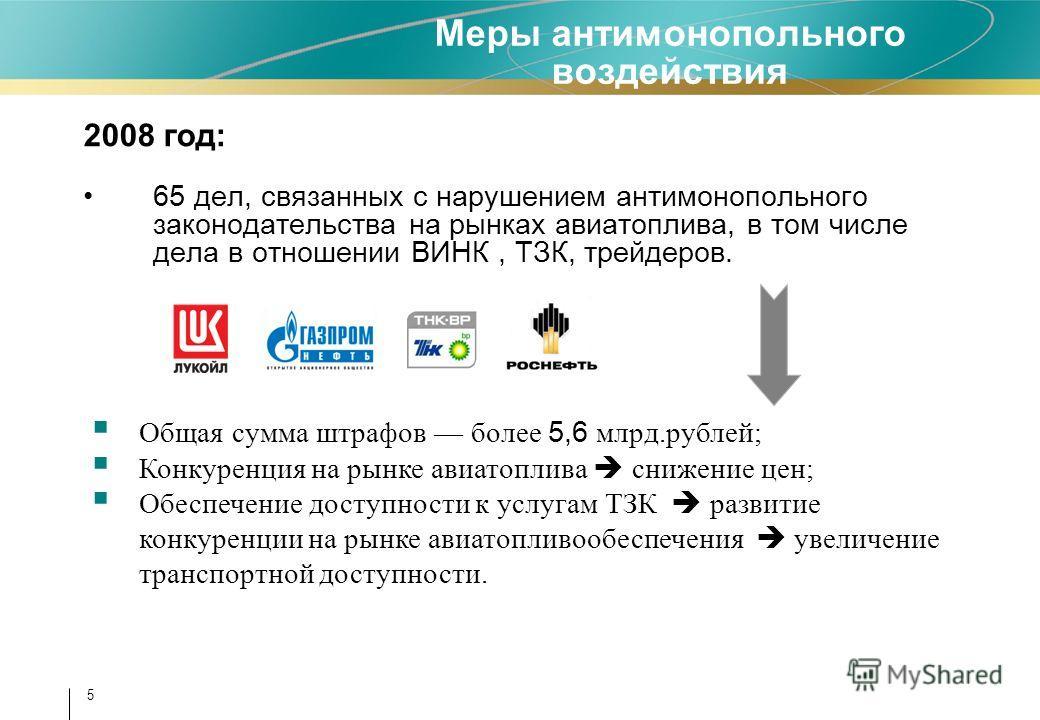 5 Меры антимонопольного воздействия 2008 год: 65 дел, связанных с нарушением антимонопольного законодательства на рынках авиатоплива, в том числе дела в отношении ВИНК, ТЗК, трейдеров. Общая сумма штрафов более 5,6 млрд.рублей; Конкуренция на рынке а
