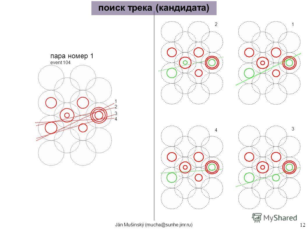 Ján Mušinský (mucha@sunhe.jinr.ru) 12 1 2 3 4 12 3 4 поиск трека (кандидата) пара номер 1 event 104