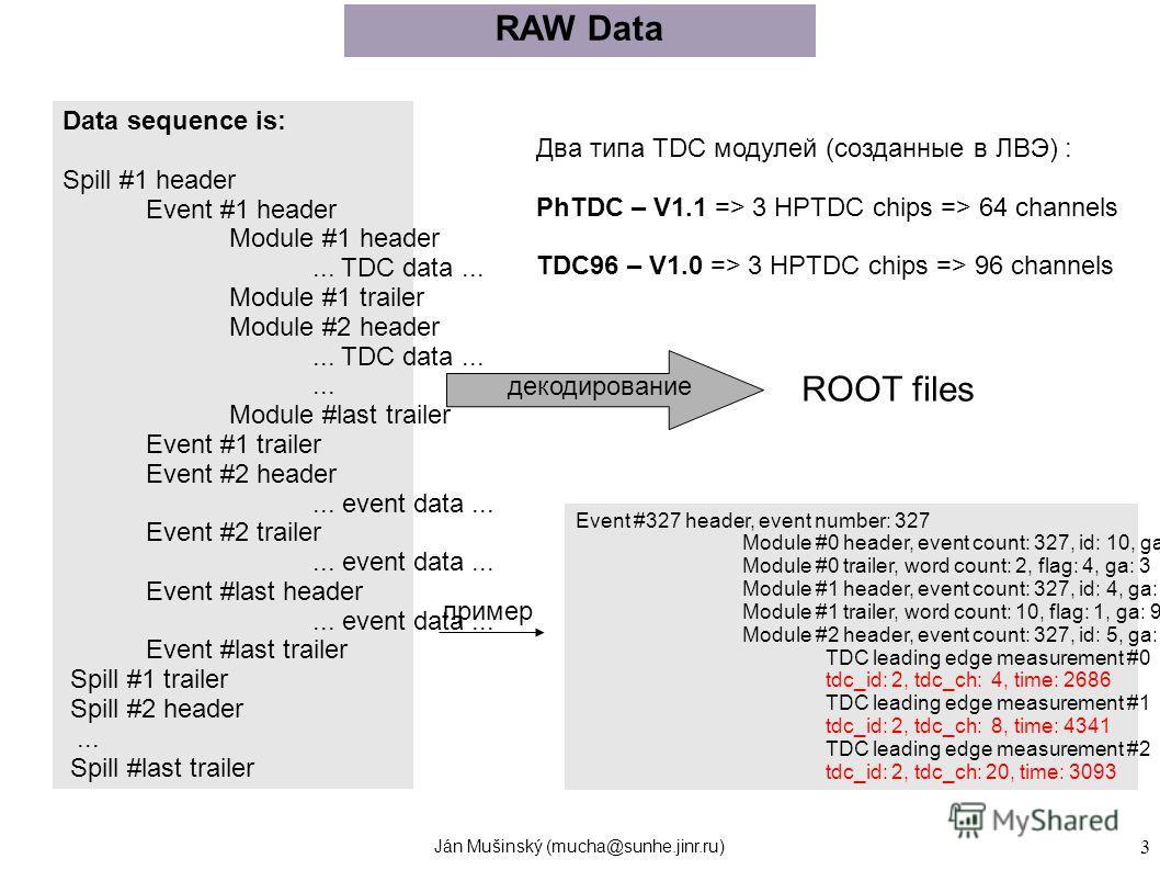 Ján Mušinský (mucha@sunhe.jinr.ru) 3 Data sequence is: Spill #1 header Event #1 header Module #1 header... TDC data... Module #1 trailer Module #2 header... TDC data...... Module #last trailer Event #1 trailer Event #2 header... event data... Event #