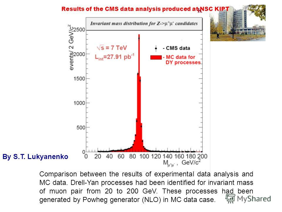 KIPT Results of the CMS data analysis produced at NSC KIPT Comparison between the results of experimental data analysis and MC data. Drell-Yan processes had been identified for invariant mass of muon pair from 20 to 200 GeV. These processes had been