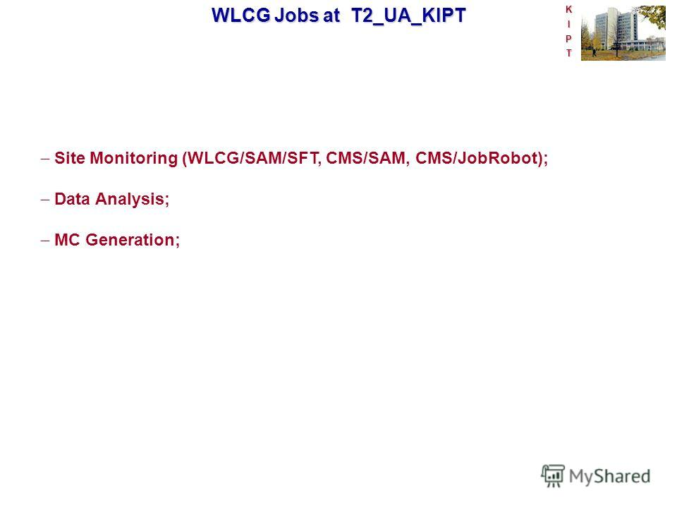 KIPT WLCG Jobs at T2_UA_KIPT Site Monitoring (WLCG/SAM/SFT, CMS/SAM, CMS/JobRobot); Data Analysis; MC Generation;