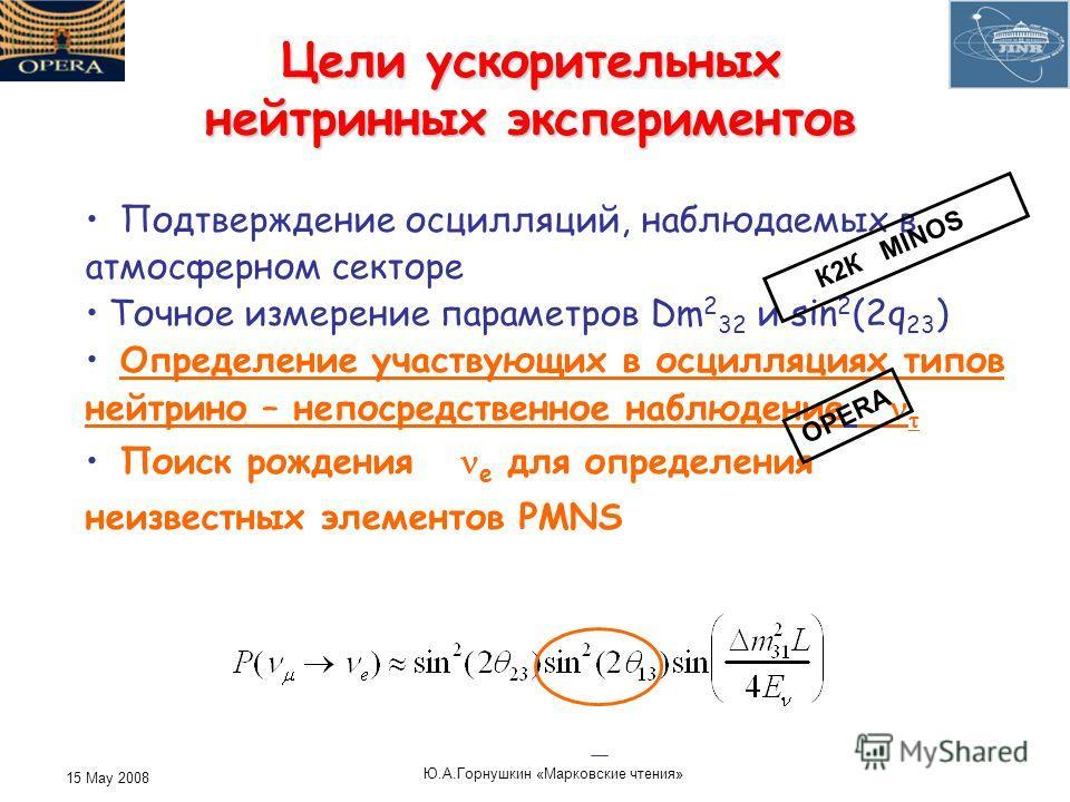 15 May 2008 Ю. А. Горнушкин « Марковские чтения » Цели ускорительных нейтринных экспериментов Подтверждение осцилляций, наблюдаемых в атмосферном секторе Точное измерение параметров Dm 2 32 и sin 2 (2q 23 ) Определение участвующих в осцилляциях типов