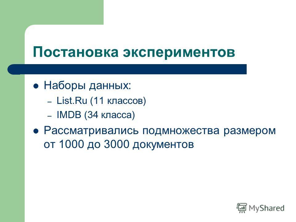 Постановка экспериментов Наборы данных: – List.Ru (11 классов) – IMDB (34 класса) Рассматривались подмножества размером от 1000 до 3000 документов