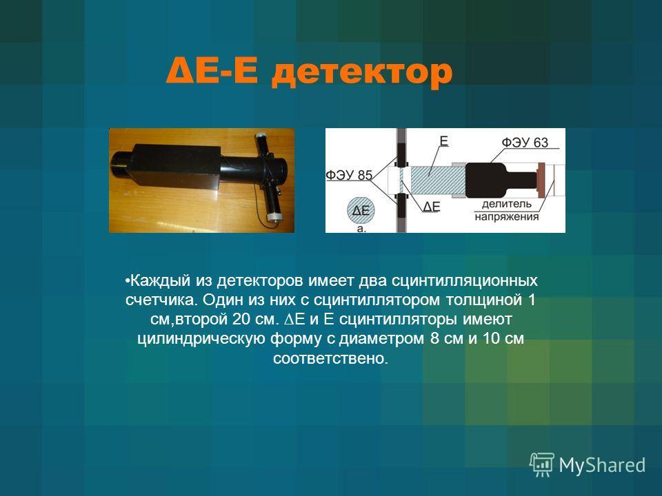 ΔЕ-Е детектор Каждый из детекторов имеет два сцинтилляционных счетчика. Один из них с сцинтиллятором толщиной 1 cм,второй 20 cм. E и E сцинтилляторы имеют цилиндрическую форму с диаметром 8 см и 10 см соответствено.